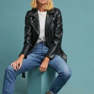 Anthropologie Ett Twa Faux Leather Moto Jacket XS